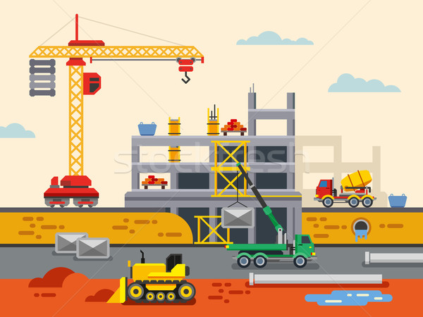 Building Construction Flat Design Vector Concept Illustration. Stock photo © jossdiim