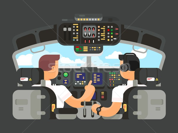 Pilots in cockpit flat design Stock photo © jossdiim