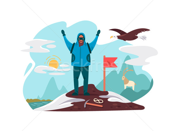 Happy mountaineer on top mountain Stock photo © jossdiim