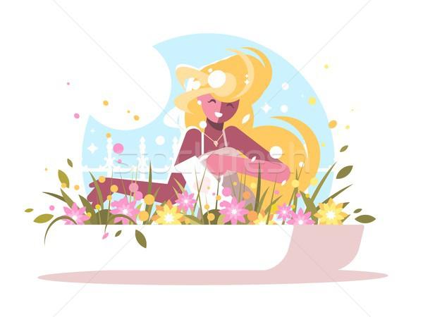 Stock photo: Cute blonde watering home flowers.