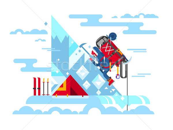 Climber conquers the summit Stock photo © jossdiim