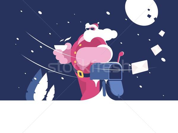 Kerstman mailbox beker koffie ontwerp sneeuw Stockfoto © jossdiim