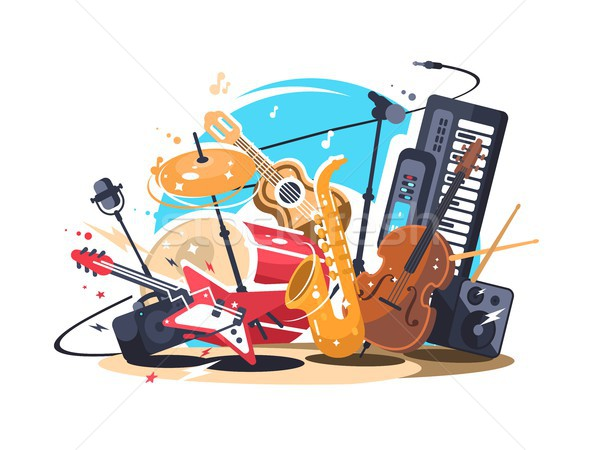Musical instruments on stage Stock photo © jossdiim