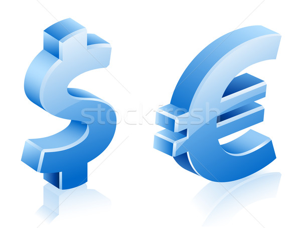 Dollar euros signes vecteur illustrations blanche Photo stock © jossdiim