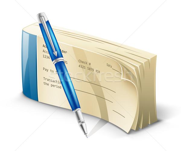 çek defteri kalem beyaz para ışık alışveriş Stok fotoğraf © jossdiim