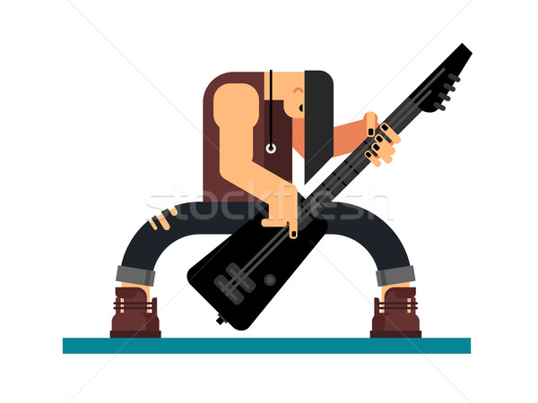 гитарист характер иллюстрация гитаре музыканта музыкальный инструмент Сток-фото © jossdiim