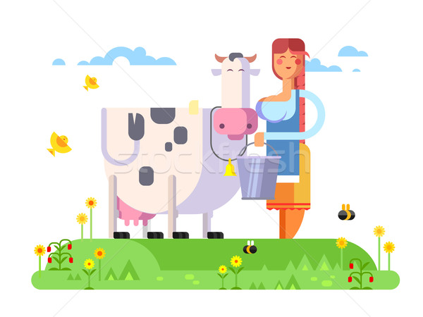 Cartoon character cow and milkmaid Stock photo © jossdiim