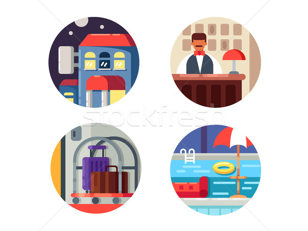Hotel service icons set Stock photo © jossdiim