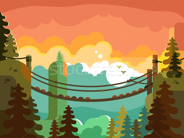 Stock photo: Suspension bridge in jungle design flat
