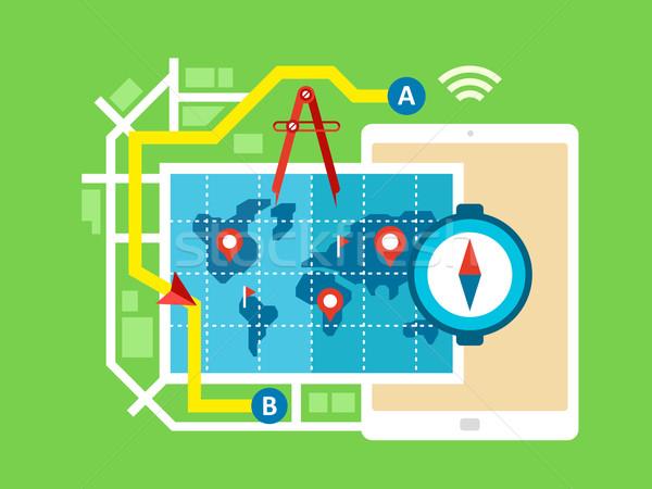 GPS Pokaż nawigacja projektu podpisania zielone Zdjęcia stock © jossdiim