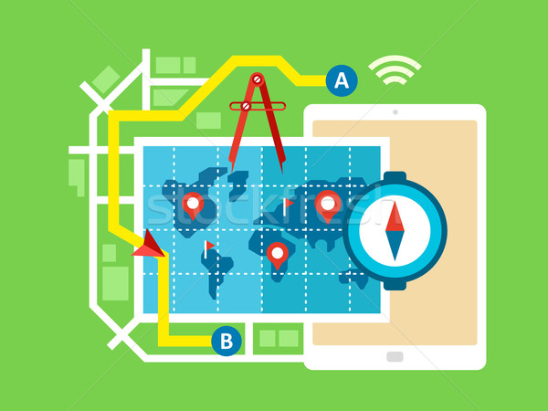 GPS Map Navigation and Routing Stock photo © jossdiim