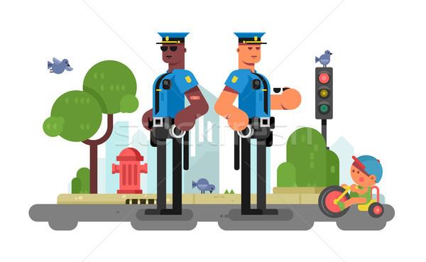 Polícia oficial rua urbano policial uniforme Foto stock © jossdiim
