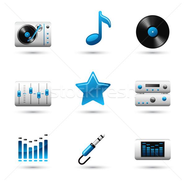 Muzyki ikona wektora ikona biały radio Zdjęcia stock © jossdiim