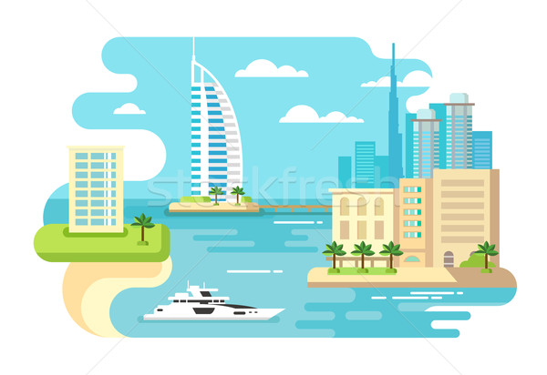 Dubai città spiaggia skyline costruzione panorama Foto d'archivio © jossdiim