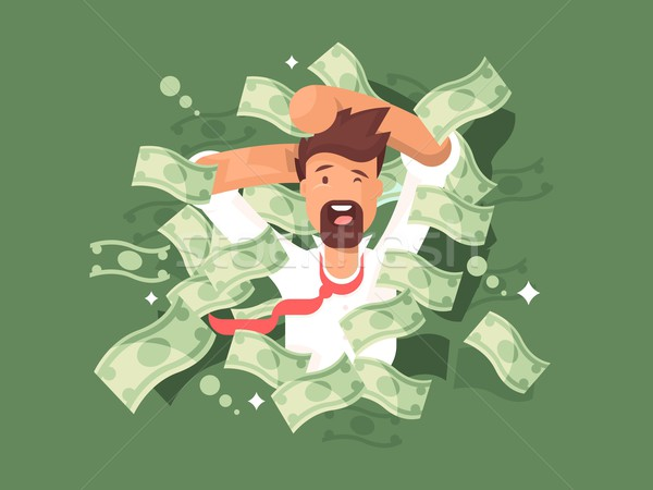 Stock photo: Man in a pile of money