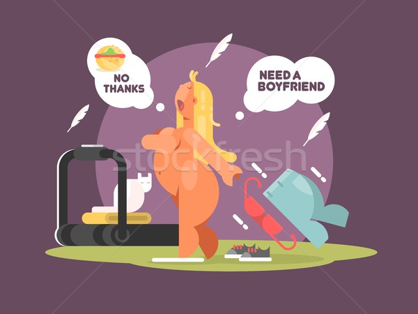 Fat lady refuses to eat food for weight loss Stock photo © jossdiim