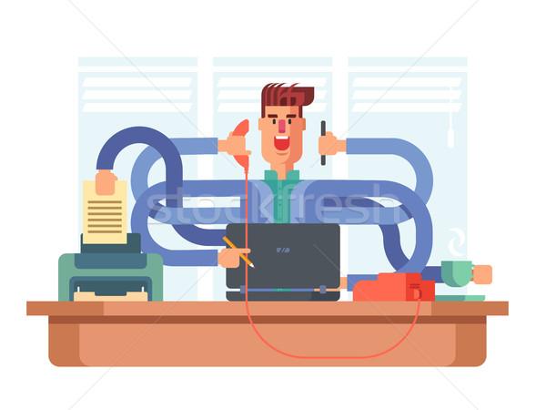 Uomo impiegato multitasking imprenditore occupato lavoro Foto d'archivio © jossdiim