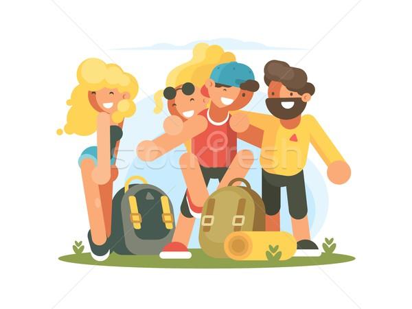 Vrolijk vrienden jongens meisjes groep vakantie Stockfoto © jossdiim