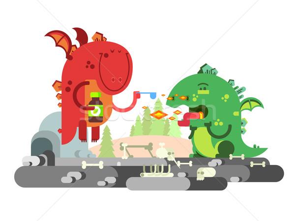 Ill dragon character Stock photo © jossdiim