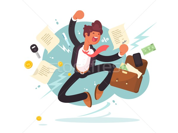 Successful businessman jumping for joy Stock photo © jossdiim
