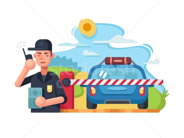 Forgalom rendőrség autó vektor út biztonság Stock fotó © jossdiim
