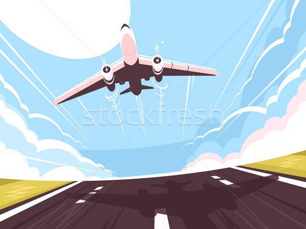 Passenger plane takes off from runway Stock photo © jossdiim