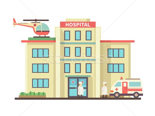 Stock photo: Hospital building flat style