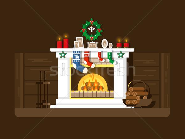 Christmas fireplace Stock photo © jossdiim