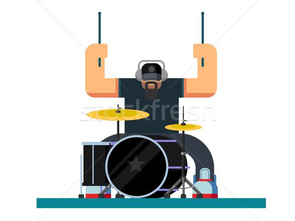 Drummer character flat illustration Stock photo © jossdiim