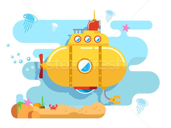 Tengeralattjáró víz vektor tájkép tenger kék Stock fotó © jossdiim