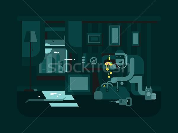 Hırsız daire soyguncu suç hırsız Stok fotoğraf © jossdiim
