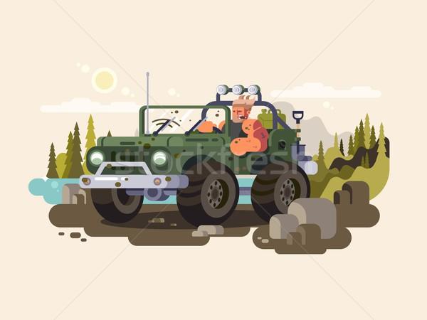 Motorista suv carro veículo transporte poeira Foto stock © jossdiim