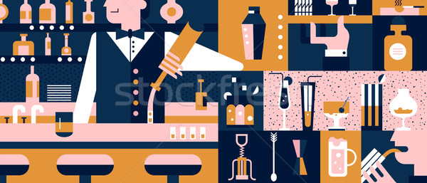 Bar and bartender background flat vector illustration