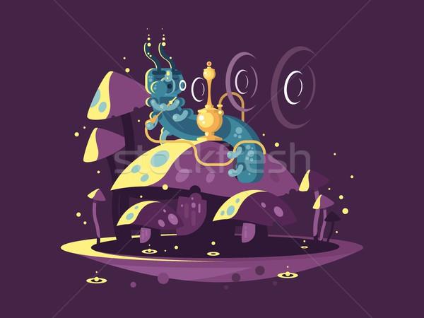 характер страна чудес фантазий Caterpillar кальян дым Сток-фото © jossdiim