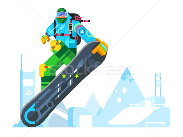 Snowboarder cartoon character Stock photo © jossdiim