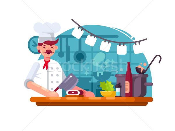 Kucharz gotować kuchnia przygotowany mięsa rzeźnik Zdjęcia stock © jossdiim