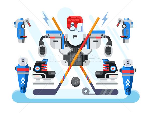 Hóquei equipamento conjunto esportes jogo vara Foto stock © jossdiim