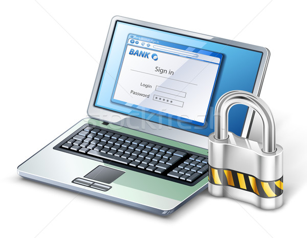 Laptop with lock. Stock photo © jossdiim