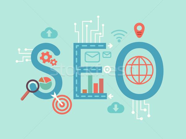 Seo illusztráció optimalizálás keresőmotor internet trend Stock fotó © jossdiim