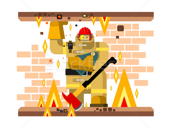 Fire man character with baby Stock photo © jossdiim