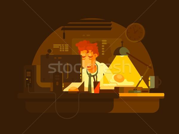 Stockfoto: Moe · man · werken · laat · computer · nacht