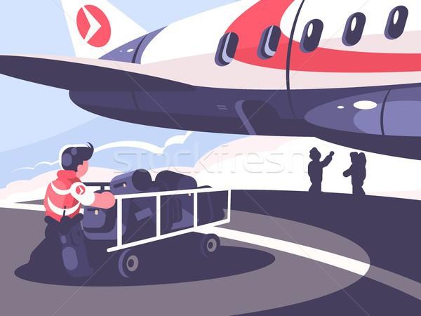 Loading of luggage in plane Stock photo © jossdiim