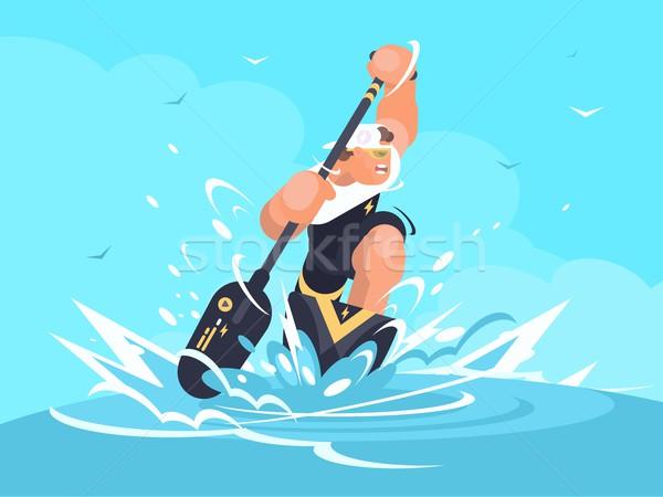 Güçlü adam kano olay spor deniz arka plan Stok fotoğraf © jossdiim