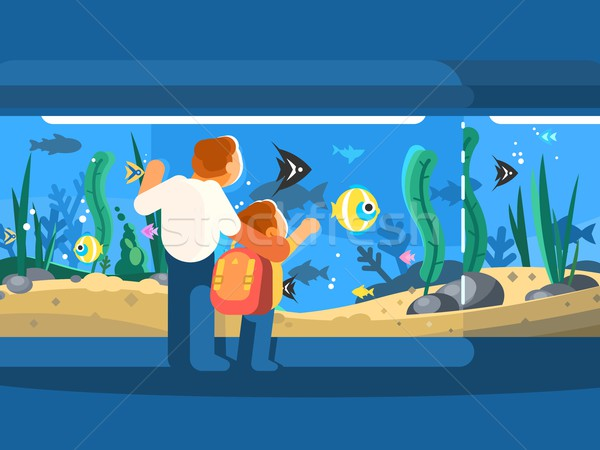 Papa fils subaquatique monde poissons algues Photo stock © jossdiim