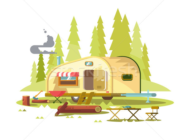 Trailer for travel in forest Stock photo © jossdiim