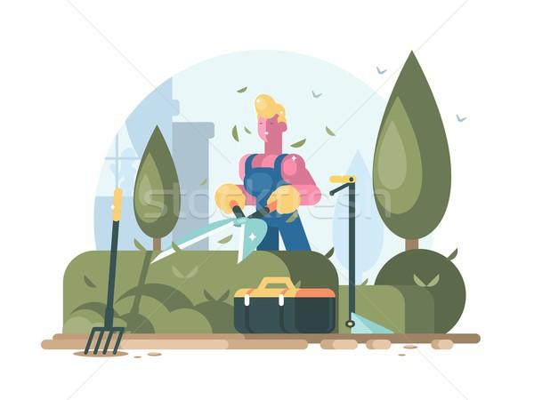 Gardener cuts green bush Stock photo © jossdiim