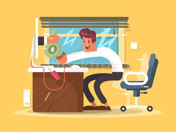 Online inkomen freelance geld zak monitor Stockfoto © jossdiim