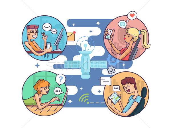 связи люди расстояние интернет женщину Сток-фото © jossdiim