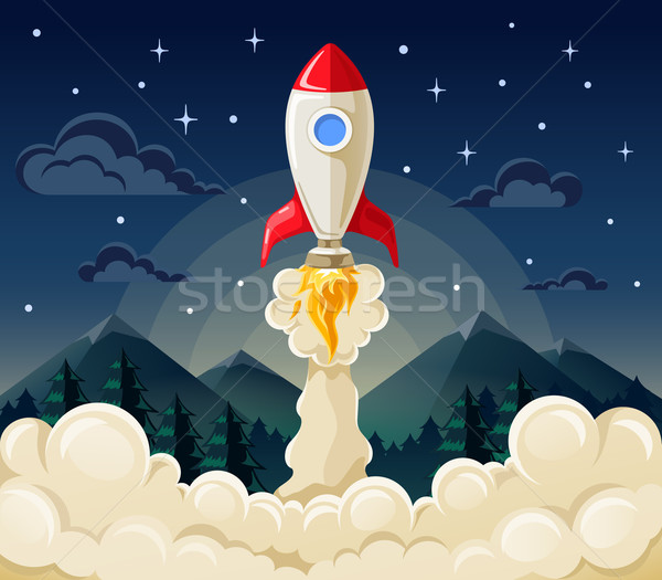 Start up space rocket ship in flat style Stock photo © jossdiim