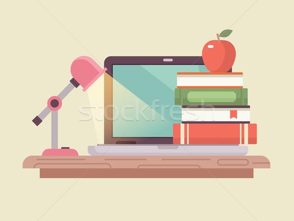 Çalışma alanı dizüstü bilgisayar kitap stil ders kitabı Stok fotoğraf © jossdiim